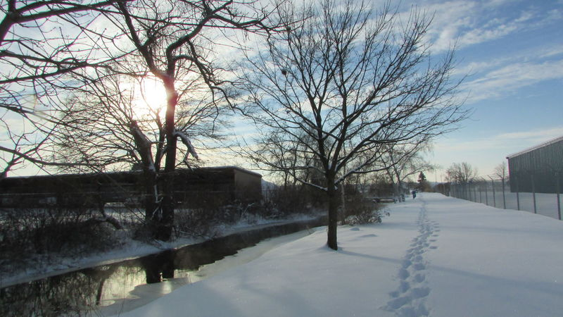 Taking Photos Clam River Walkway Winter_collection My Footprints Very Cold Blue Sky And CloudsBeautiful View ❤ Cadillac Michigan