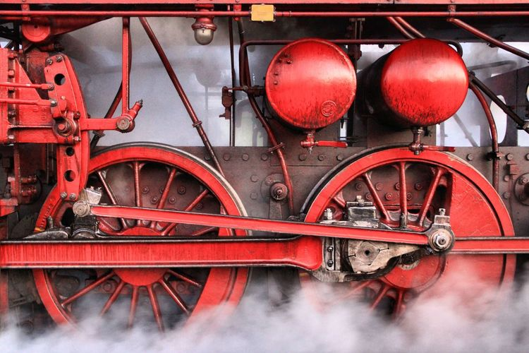 Close-up of red train