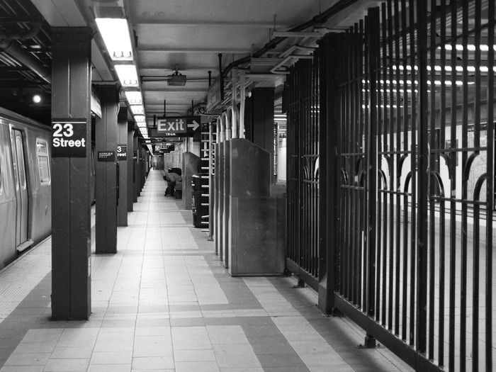 Platform of subway almost empty by night in New York. USA New York 23rd Street  Subway Night Street Photography X100t Fujifilm Black And White Monochrome Photography