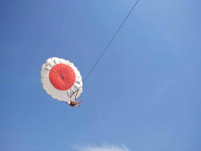 Adventure Blue Day Enjoyment Freedom Fun Leisure Activity Lifestyles Low Angle View Mid-air Multi Colored Nature Outdoors Sky Parasailing Watersports Nusadua Tanjungbenoa Bali, Indonesia Shore