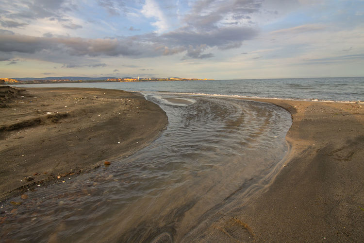 A little River, which lazily flows into its Sea. Outdoors Idyllic Non-urban Scene No People Sunset Nature Tranquil Scene Tranquility Horizon Sand Horizon Over Water Scenics - Nature Beauty In Nature Cloud - Sky Land Water Beach Sky Sea