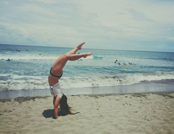 Obligatory beach handstand picture. Beachday Beachbaby Vitaminsea Teamsummer