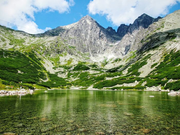 Scenic view of lake and tatra mountains