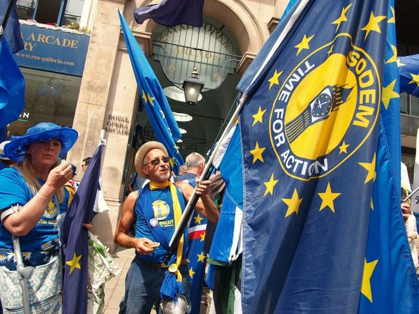 March For The Peoples vote. Whitehall. London. 23/06/2018 Protest Protesters Whitehall London London News Europe Remainers Remain Brexit British Politics Politics And Government Brexit Protest Stevesevilempire Steve Merrick Men Day People Group Of People Traditional Clothing Real People Standing