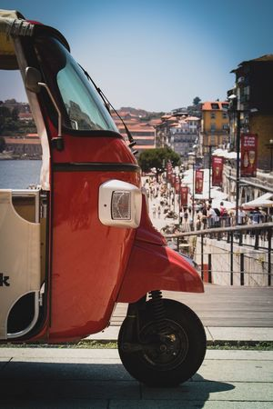 Wanna take a ride? Go explore... Transportation Building Exterior Mode Of Transport Land Vehicle Day Outdoors Architecture Red Portugal Porto Goexplore City Life Igersportugal Igersporto Super_portugal Lost In The Landscape First Eyeem Photo