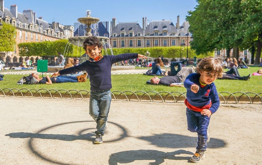 Placedesvosges Paris The Moment - 2014 EyeEm Awards photo taken when our kids were playing with the shadows of the Lamp, like dancing over the shadows! At Place des Vosges in Paris! RePicture Style Snapshots Of Life