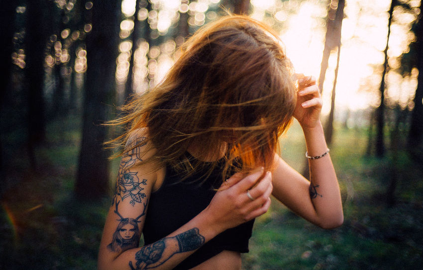 35mm Beautiful Fashion Tree VSCO Adult Day Forest Girl Hair Hairstyle Inked Land Leica LeicaM9 Nature One Person Outdoors Tattoo Tree Women Young Women This Is My Skin