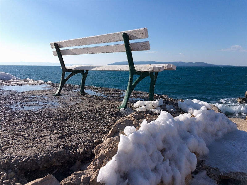 Bench with snow around on sea coast in Makarska, Croatia Adriatic Bench Clear Sky Coast Coastline Cold Croatia Dalmatia Day Horizon Over Water Makarska Marine Mediterranean  Nature No People Nobody Outdoors Scenic Scenics Sea Shore Snow Tranquility Water Winter