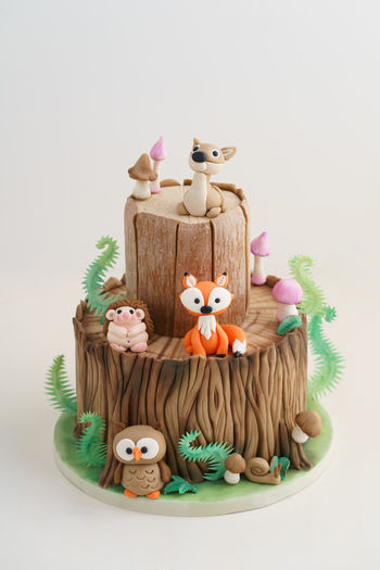 Enchanted forest woodland themed fondant cake with a hedgehog, deer, owl, fox, snail, tree trunk, ferns, mushrooms and leaves on white background Birthday Cake Deer Fondant Cake Tree Tree Trunk WoodLand Animal Cake Celebration Character Fern Figurine  Fondant  Food Food And Drink Forest Fox Guitar Kid Mushroom Owl Still Life Sugar Arts Sweet Food Theme