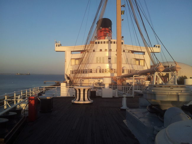 On the deck of Queen Mary 🚢 Architecture Big Ship Built Structure Califonia Clear Sky Day Ghost Ship Hotel The Queen Mary Long Beach Nature Nautical Vessel No People Outdoors Passenger Ship RMS Queen Mary Sky EyeEm Traveling Ship Deck Ship Mast Ship Details