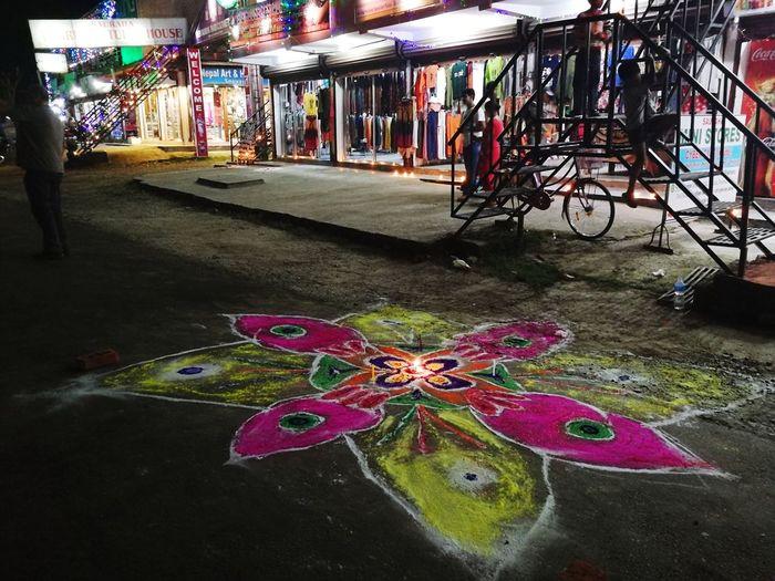 Bicycle Street Transportation Land Vehicle Road Multi Colored Illuminated Night City No People Architecture Outdoors Tihar Festival Of Light And Colour Hindu Culture Hindu Festival Hinduism Tihar Ko Ramjham!