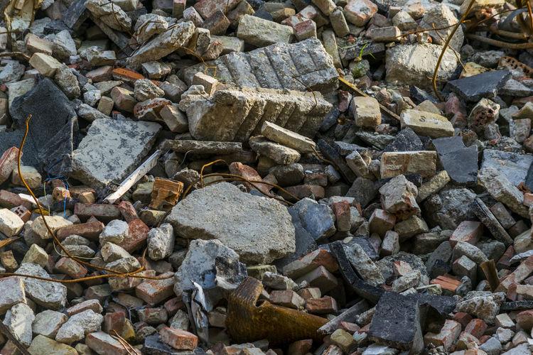 Full Frame Shot Of Demolished House