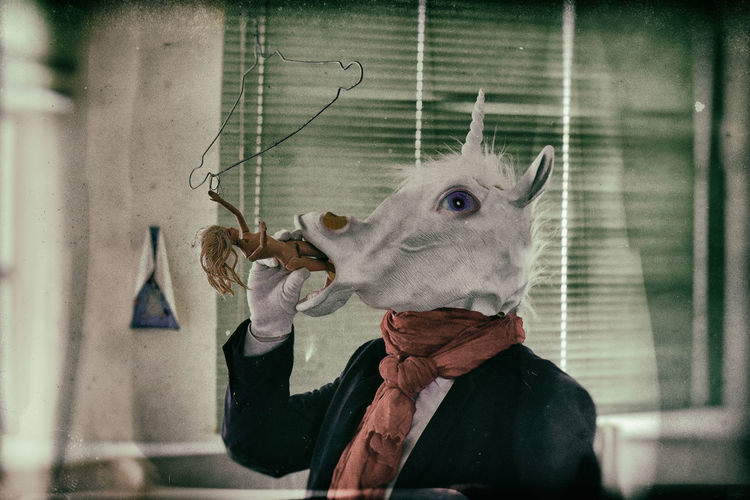 Person in unicorn mask holding toy