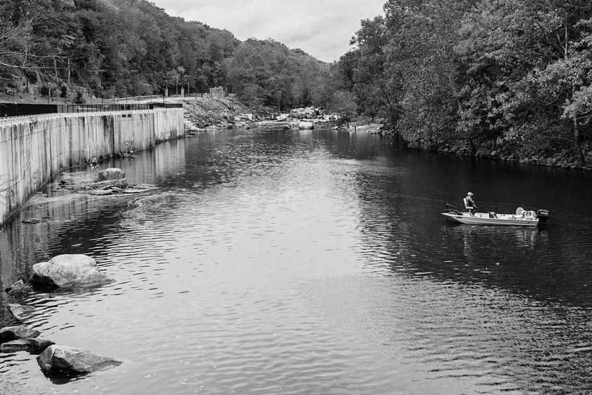 fishing on the Occoquan river Blackandwhite Monochrome Water River Fishing Boat Man Dog Outdoors Water Tree Lake Nautical Vessel Sky Calm Tranquil Scene