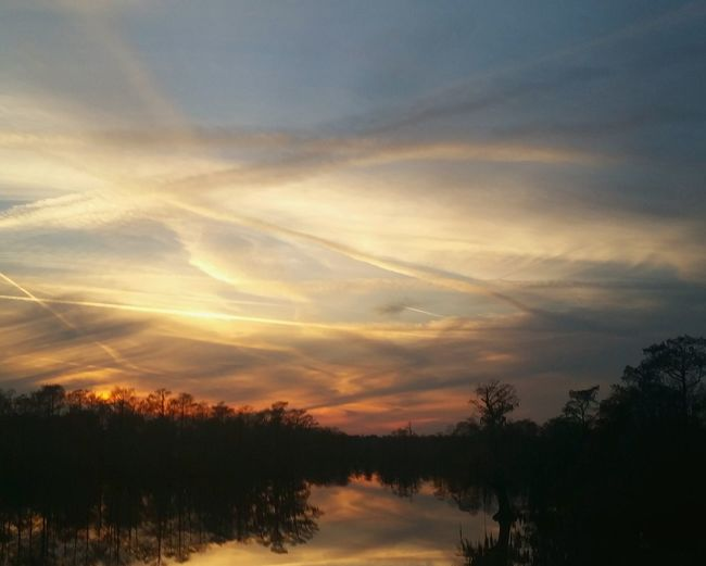 The English Bayou at sunset in Lake Charles Louisiana Sunsets. Water Reflections Sunset Silhouettes