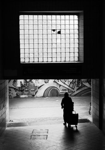 Blackandwhite Indoors  One Person Real People Rear View Sky Streetphotography Transportation Window
