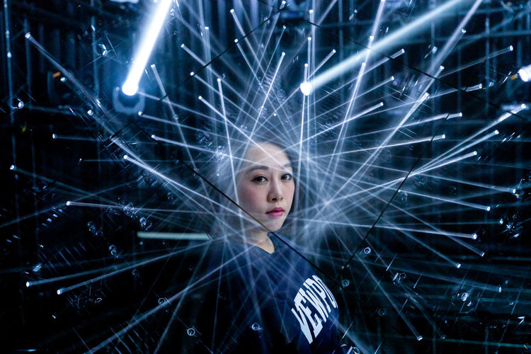 Tokyo TeamLabBorderless EyeEm Best Shots Portrait Of A Woman Portrait Photography Double Exposure International Women's Day 2019 Technology Star - Space Illuminated Futuristic Studio Shot Communication Close-up Laser Light Beam Red Lipstick Multiple Exposure Stage Light My Best Photo