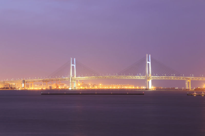 Bridge Yokohama Bay Night Sea Scenery Port Japan Color Background Light Water Landscape View Reflection Scene Suspension Nature Morning Blue Sunrise Abstract Red Summer Sky Wallpaper Colorful Travel Spring Season  Outdoor Gold Vacation Ocean Beach Cloud Scenic Purple Sunset Coast Horizon Peaceful