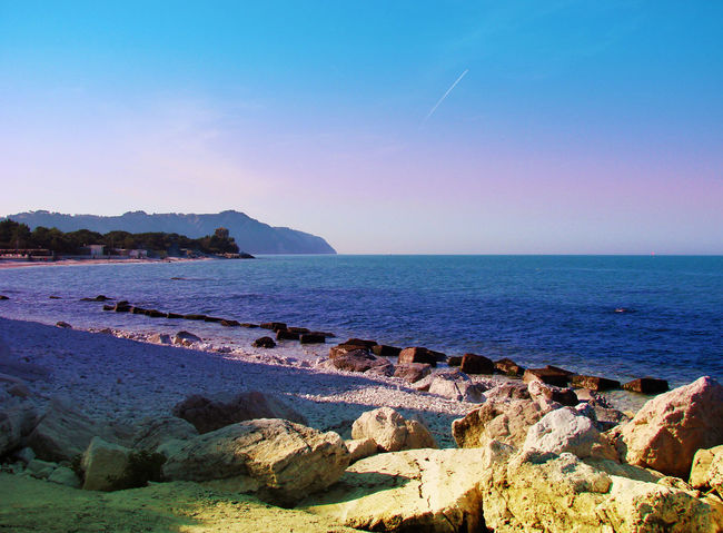 Ancona Beach Blue Coastline Conero Italy Marche Portonovo Sea Seascape Shore Tower Vacation Voyage First Eyeem Photo