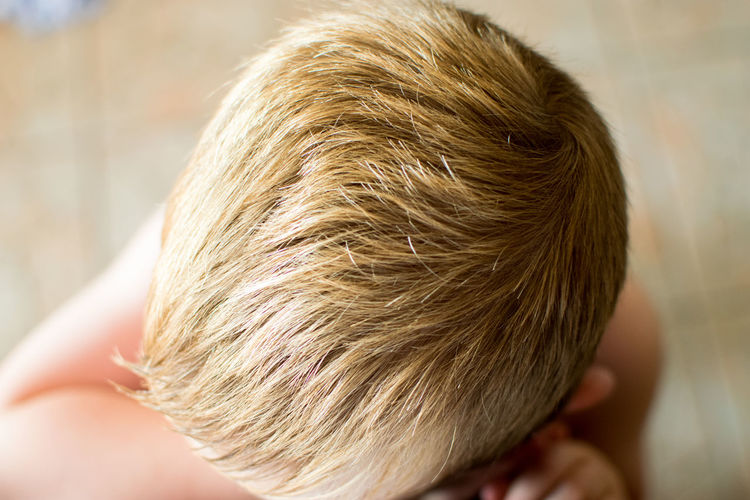 High angle view of blond boy