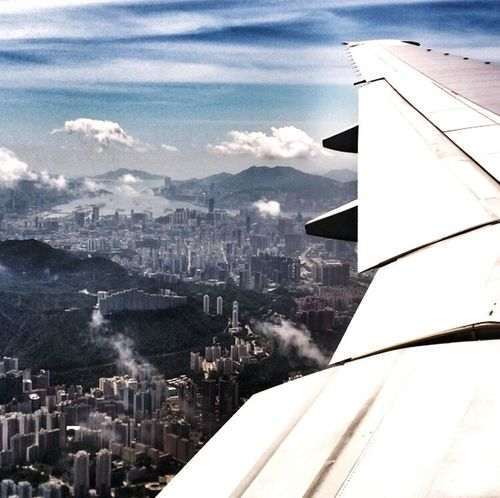 Window View Plane HongKong Skyporn From The Plane Window Cityscapes Concrete Jungle Over The Clouds Mountain Range China IPhoneography IPhone Journey Is The Destination