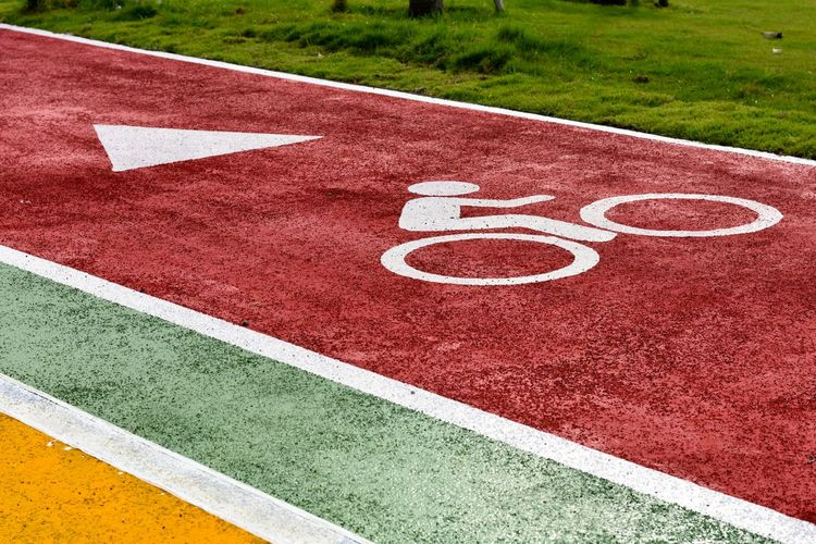 High angle view of bicycle lane on sports track