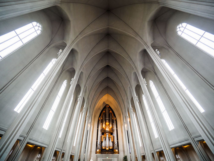 Arch Architectural Column Architecture Cathedral Day Hanging Iceland Indoors  Interior Low Angle View Modern No People Place Of Worship Religion Reykjavik Spirituality Wide Shot