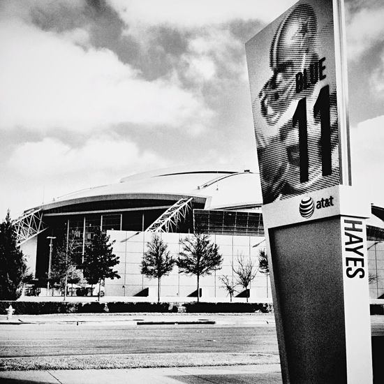 ATT Stadium Architecture Sky Day Built Structure Text Building Exterior Low Angle View Cloud - Sky Dallas Cowboys Bob Hayes Monochrome Photography