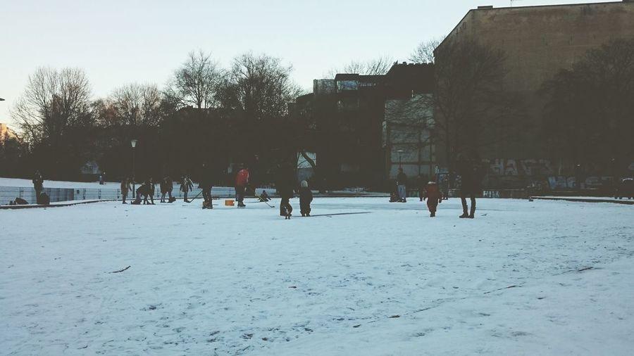 Winter Wonderland Kids Snow Hockey Snow And Sleighs Frozen Lake