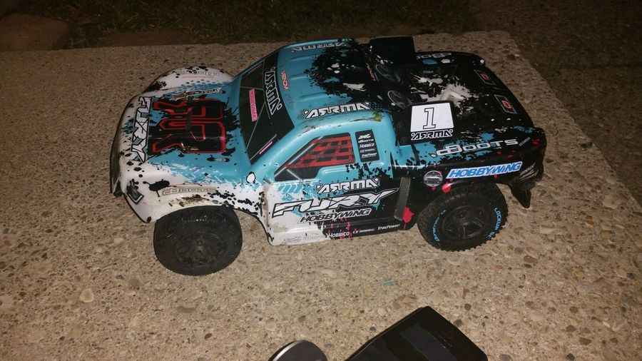 8th Scale Radio Controlled Arrma Fast High Angle View My Toy No People Rc Truck