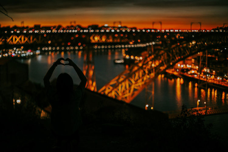 Sky Illuminated Night River Cityscape Nightview Love Shadow Sunset Porto Portugal Duoro River Travel Destinations