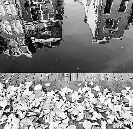 Outdoors Reflection Water Blackandwhite Photography Reflection Nature Pattern Rippled Beauty In Nature Old Town Old Buildings Fall Leaves Fall Graphic Photography Tranquil Scene No People Blackandwhite Lake