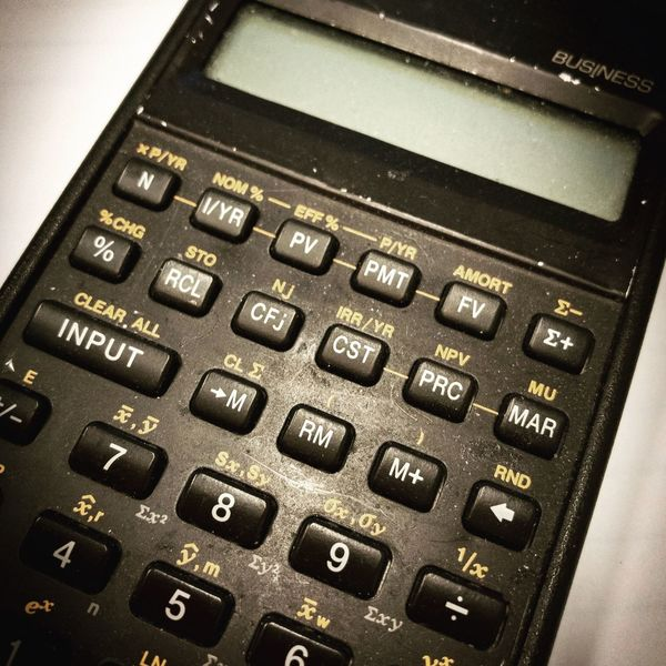All about Business Vintage Calculator working Contrast old Office Tools numbers Financial Mathematics Equations