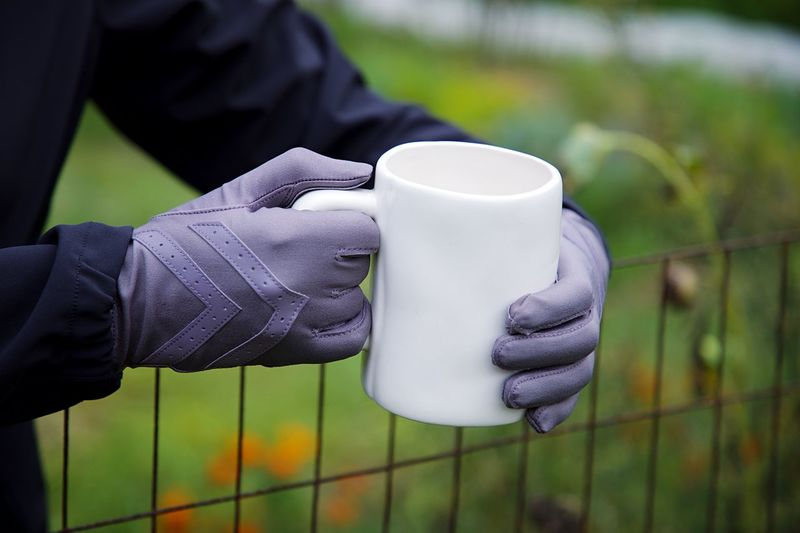 Mug Shot Fall Coffee Human Hand Hand One Person Holding Focus On Foreground Human Body Part Glove Real People Protection Protective Glove Protective Workwear Fence Close-up Working Unrecognizable Person Day Cup Outdoors