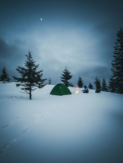 Cold Temperature Snow Winter Tree Scenics - Nature Tranquility Tranquil Scene Sky Nature Land Moon Environment Landscape Night Non-urban Scene Tent No People Full Moon Snowcapped Mountain Pine Tree Camping Campfire People Hikingadventures Nature