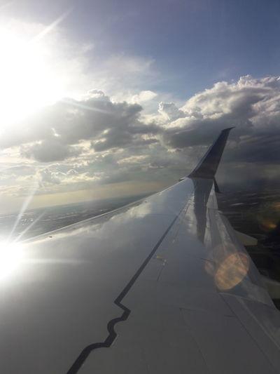 Sky, Plane, Clouds, Sun Cloud - Sky Airplane Aerial View Travel Destinations Sky