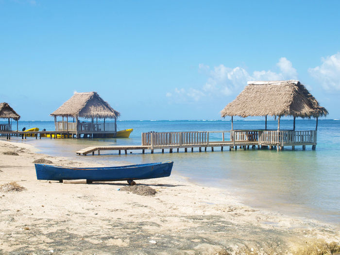 Dugout canoe on a caribbean beach