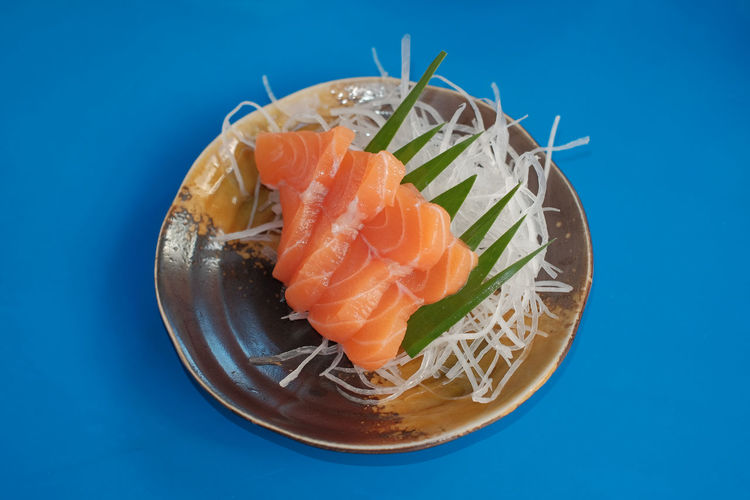 Close-up of sushi served in a plate