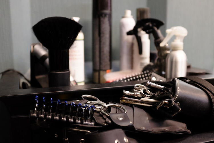 Close-up of hair salon equipment
