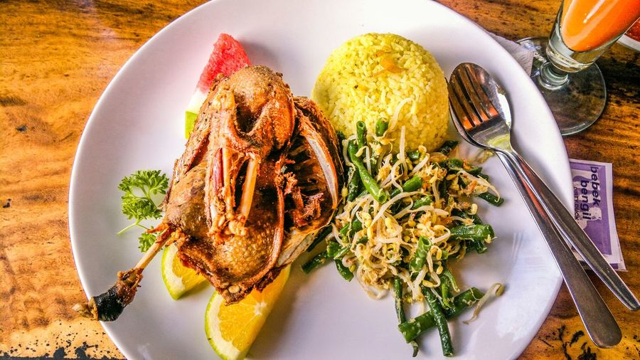 Bebek bengil, balinese style fried duck Fried Duck Balinese Cuisine Indonesia Culinary Balinese Food Duck Meat Crunchy Delicious
