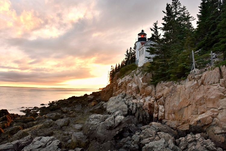 Bass Harbor Lighthouse Bass Harbor, Maine Lighthouse Maine Maine Lighthouse Architecture Cloud - Sky Rock Rock Formation Solid Sunset Tranquility Water