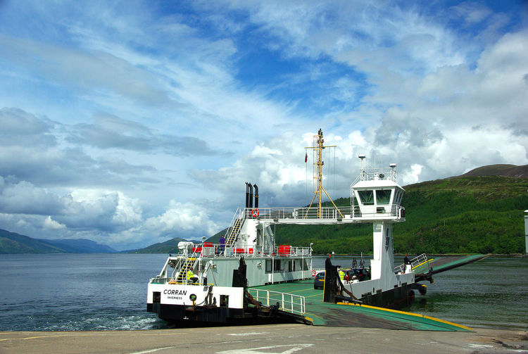 Corran Ferry Ardgour Ardnamurchan Business Finance And Industry Cloud - Sky Corran Ferry Day Ferry Ferryboat Fort William Harbor Holiday Industry Loch Linnhe Lochaber Nether Lochaber No People Outdoors Sea Sea And Sky Sea Loch Sky Transport Travel Water