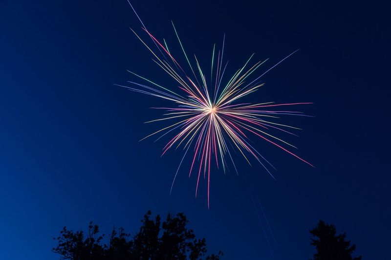 Fireworks Low Angle View Firework Display Celebration Night Firework - Man Made Object Exploding Long Exposure Sky Blue No People Event Arts Culture And Entertainment Multi Colored Motion Clear Sky Outdoors Tree