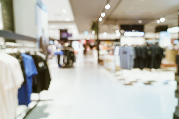 Blurred motion of people at store