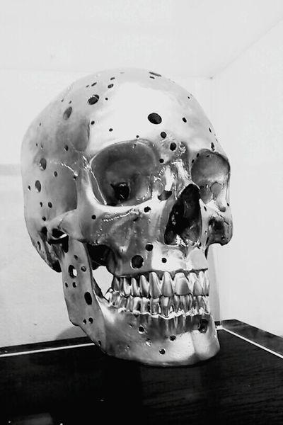 Blackandwhite Noiretblanc Tete De Mort Dead Art en Bois Squelette Crane Argent Photography MyPhotography Photo