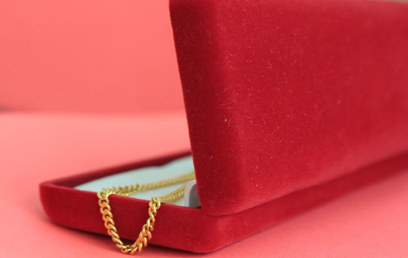 Golden Chain In Red Box