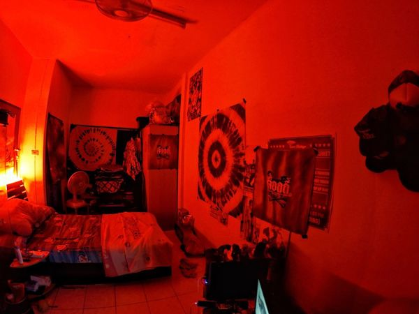 red Red Art And Craft Illuminated Wall - Building Feature Indoors  Night Architecture