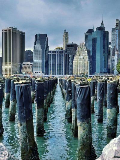 Wooden posts in sea against modern buildings in city
