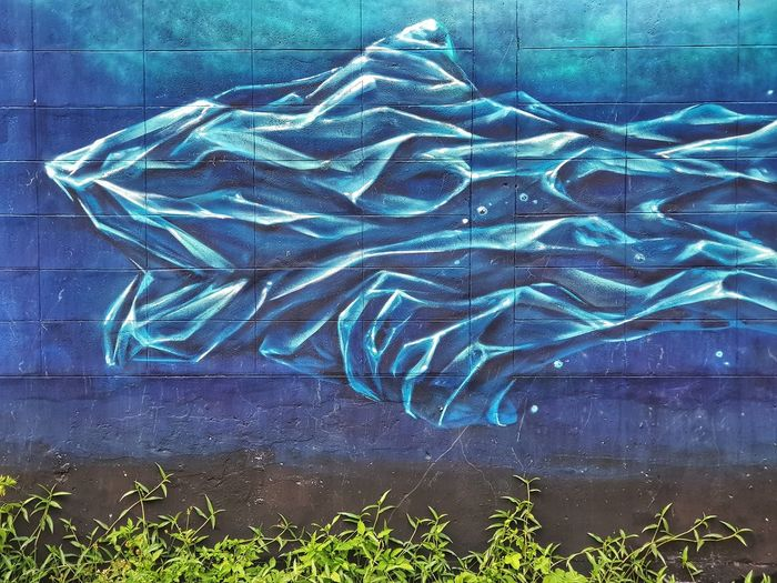 Blue Water Ice Iceburg Painted Image Graffiti Street Art Hip Hop Art Painted Spray Paint Drawing