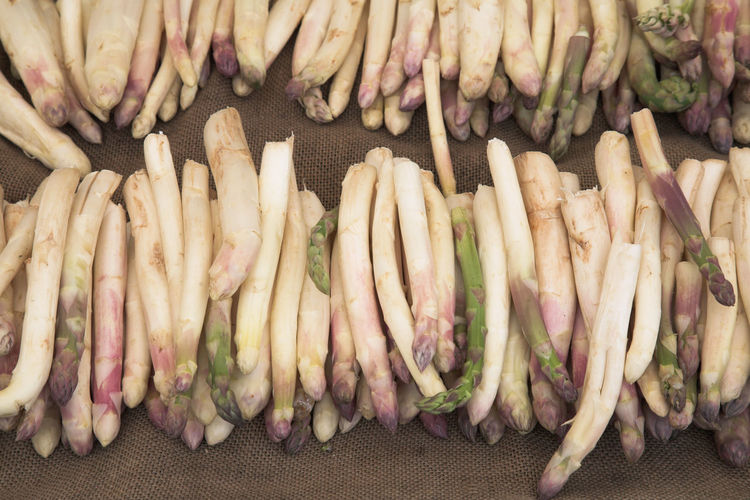 High angle view of asparagus at market for sale